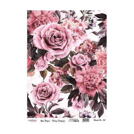 Papel de arroz collage de flores rosas de Cadence ref PA741 - Taller decoración de muebles antiguos Madrid estilo Shabby Chic, Provenzal, Romántico, Nórdico