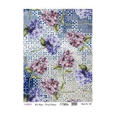 Papel de arroz collage de hortensias de Cadence ref PA740 - Taller decoración de muebles antiguos Madrid estilo Shabby Chic, Provenzal, Romántico, Nórdico