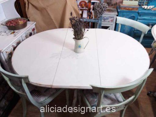 Mesa de comedor redonda extensible estilo Shabby Chic - Taller de decoración de muebles antiguos Madrid. Muebles de colores, productos y cursos.