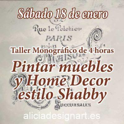 Curso taller de decoración de muebles y Home Decor estilo Shabby Chic 18 de enero 2020 - Taller de decoración de muebles antiguos Alicia Designart Madrid