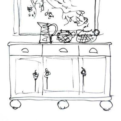 Aparador grande decorado por encargo exclusivamente para ti - Taller decoración de muebles antiguos Madrid estilo Shabby Chic, Provenzal, Romántico, Nórdico