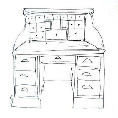Mesa escritorio decorada por encargo exclusivamente para ti - Taller decoración de muebles antiguos Madrid estilo Shabby Chic, Provenzal, Romántico, Nórdico
