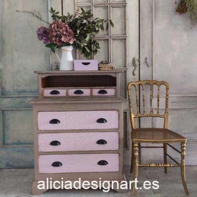 Mesa escritorio con tablero extraíble decorada estilo Shabby Chic - Taller de decoración de muebles antiguos Alicia Designart Madrid. Muebles de colores, productos y cursos.