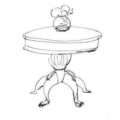 Mesa redonda de comedor decorada por encargo exclusivamente para ti - Taller decoración de muebles antiguos Madrid estilo Shabby Chic, Provenzal, Romántico, Nórdico