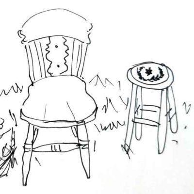 Taburete o silla decorada por encargo exclusivamente para ti - Taller decoración de muebles antiguos Madrid estilo Shabby Chic, Provenzal, Romántico, Nórdico