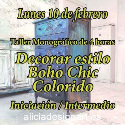 Curso taller de iniciación a la decoración de muebles y Home Decor estilo Boho Chic 10 de febrero 2020 - Taller de decoración de muebles antiguos Alicia Designart Madrid