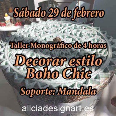 Curso taller de decoración de muebles y Home Decor estilo Boho Chic 29 de febrero 2020 con mandala - Taller de decoración de muebles antiguos Alicia Designart Madrid