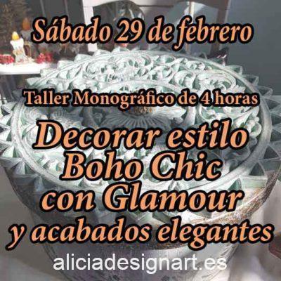 Curso taller de decoración de muebles y Home Decor estilo Boho Chic 29 de febrero 2020 con glamour - Taller de decoración de muebles antiguos Alicia Designart Madrid