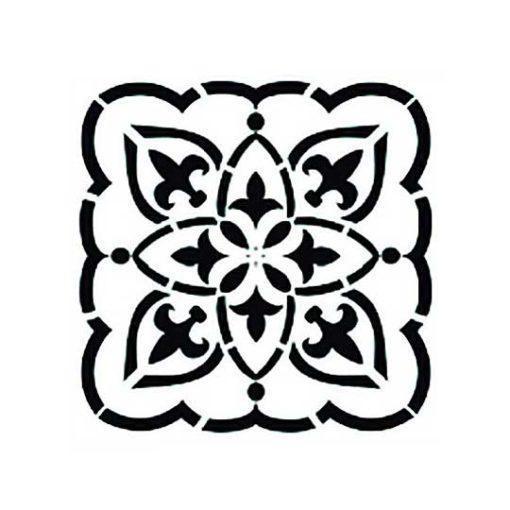 Plantilla de stencil estarcido con baldosa hidráulica de Cadence Home Decor TCS005 - Taller decoración de muebles antiguos Madrid estilo Shabby Chic, Provenzal, Romántico, Nórdico