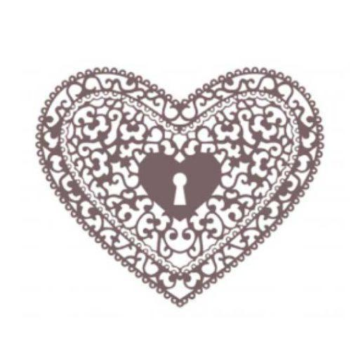 Plantilla de stencil estarcido corazón con cerradura de Cadence Shadow KS114 - Taller decoración de muebles antiguos Madrid estilo Shabby Chic, Provenzal, Romántico, Nórdico