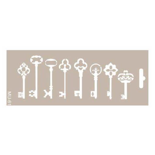 Plantilla de stencil estarcido Mix Media con 8 llaves distress de Cadence MU061 - Taller decoración de muebles antiguos Madrid estilo Shabby Chic, Provenzal, Romántico, Nórdico