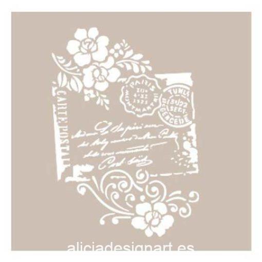 Plantilla de stencil estarcido sellos y flores as464 - Taller decoración de muebles antiguos Madrid estilo Shabby Chic, Provenzal, Romántico, Nórdico