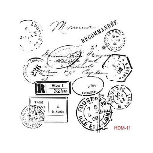Plantilla de stencil estarcido sellos postales vintage hdm11 - Taller decoración de muebles antiguos Madrid estilo Shabby Chic, Provenzal, Romántico, Nórdico