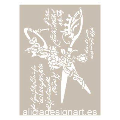 Plantilla de stencil estarcido con tijeras vintage as534 - Taller decoración de muebles antiguos Madrid estilo Shabby Chic, Provenzal, Romántico, Nórdico