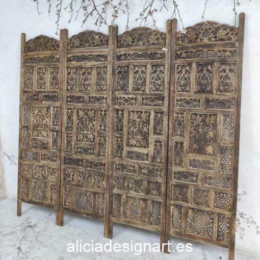 Cabecero de madera maciza proveniente de la India - Taller de decoración de muebles antiguos Alicia Designart Madrid