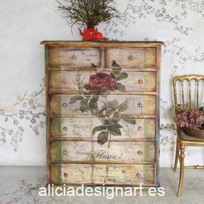 Cómoda sinfonier Vintage 7 cajones decorada estilo Boho con rosa y efecto envejecido - Taller de decoración de muebles antiguos Madrid. Muebles de colores, productos y cursos.