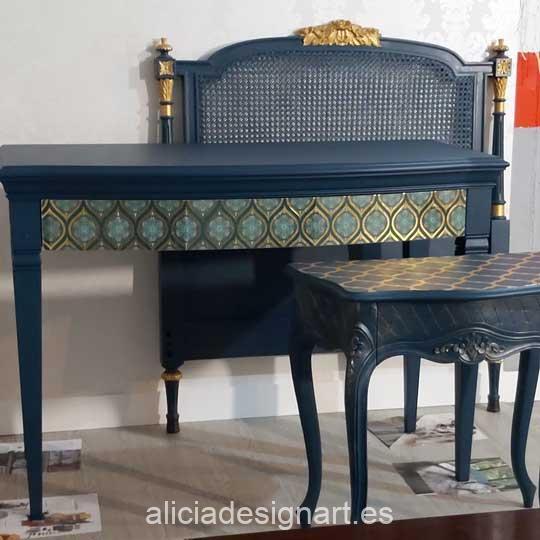 Ejemplo de utilización de papel de arroz dorado sobre muebles - Taller decoración de muebles antiguos Madrid estilo Shabby Chic, Provenzal, Romántico, Nórdico