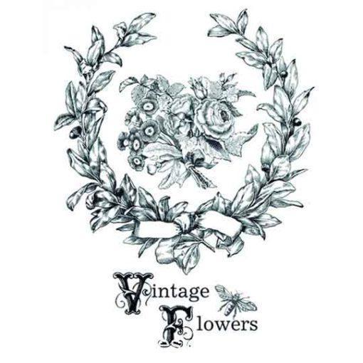 Papel para transfer Vintage Flowers de Cadence Home Decor ref HDT045 - Taller decoración de muebles antiguos Madrid estilo Shabby Chic, Provenzal, Romántico, Nórdico