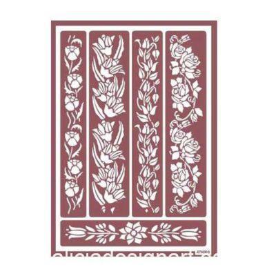 Plantilla de stencil estarcido con flores para ácido 96022700 - Taller decoración de muebles antiguos Madrid estilo Shabby Chic, Provenzal, Romántico, Nórdico