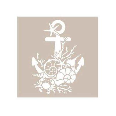 Plantilla de stencil estarcido con ancla AS468 - Taller decoración de muebles antiguos Madrid estilo Shabby Chic, Provenzal, Romántico, Nórdico