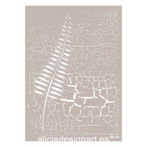Plantilla de stencil estarcido Mix Media hoja sobre craquelado de Cadence MA089 - Taller decoración de muebles antiguos Madrid estilo Shabby Chic, Provenzal, Romántico, Nórdico