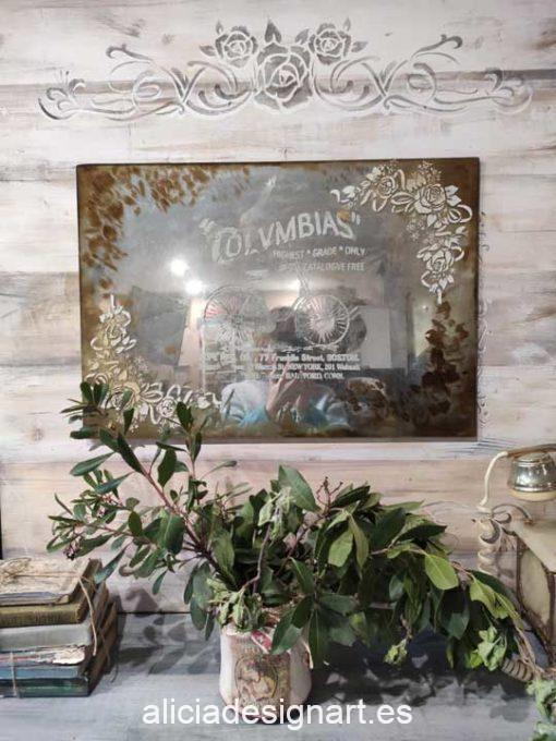 Espejo antiguo vintage decorado estilo Shabby Chic Campestre con stencil y cristal grabado - Taller decoración de muebles antiguos Madrid estilo Shabby Chic, Provenzal, Romántico, Nórdico