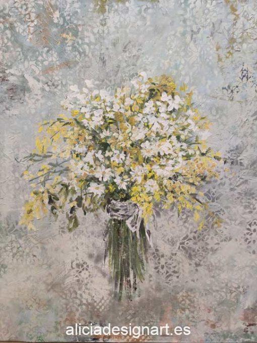 Ramo de flores campestres, cuadro original, pintado a mano por Alicia Dominguez Lopez - Taller de decoración de muebles antiguos en Madrid