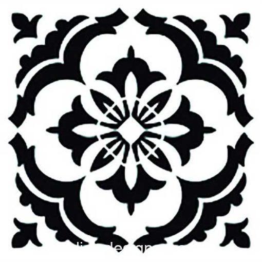 Plantilla de stencil estarcido con baldosa hidráulica de Cadence Home Decor TCS001 - Taller decoración de muebles antiguos Madrid estilo Shabby Chic, Provenzal, Romántico, Nórdico