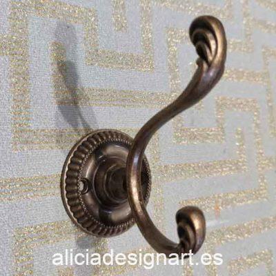 Gancho color bronce con motivos florales - Decoración de muebles antiguos estilo Shabby Chic, Provenzal, Romántico, Nórdico