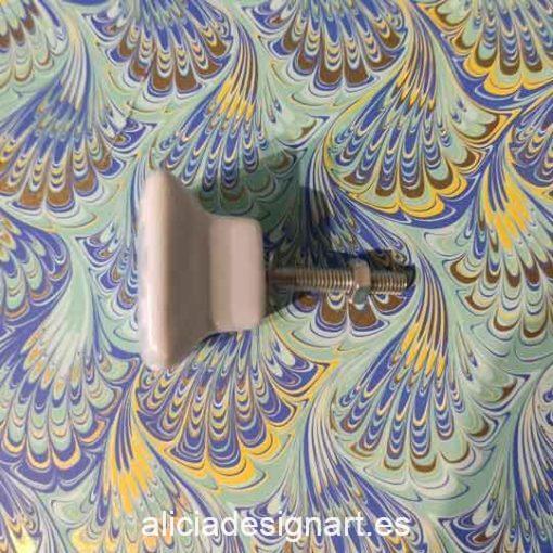 Tirador cuadrado de cerámica color visón y gris - Decoración de muebles antiguos estilo Shabby Chic, Provenzal, Romántico, Nórdico