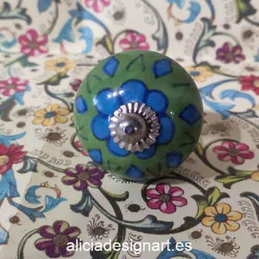 Pomos tiradores esféricos 4,5 cm de cerámica estilo Boho Chic India - Tienda de productos de decoración en Madrid. Plantillas de stencil, papel découpage, pintura decoración, Chalk Paint, accesorios