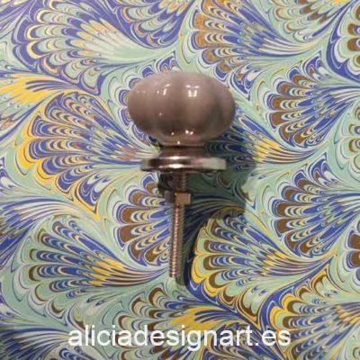 Tirador visón floral con botón - Decoración de muebles antiguos estilo Shabby Chic, Provenzal, Romántico, Nórdico
