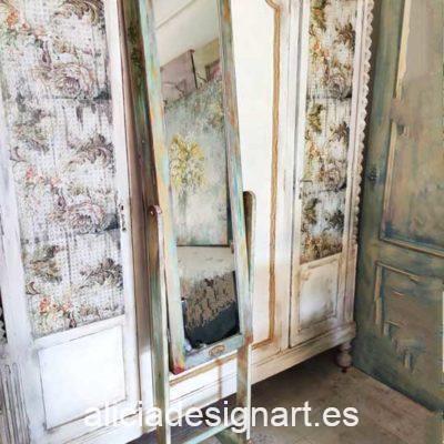 Espejo de pie antiguo decorado por encargo estilo Shabby Chic Campestre verde - Taller decoración de muebles antiguos Madrid estilo Shabby Chic, Provenzal, Romántico, Nórdico
