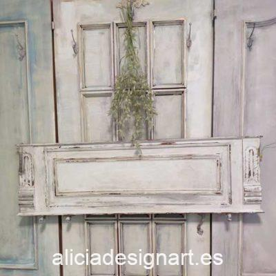 Copete walldecor rectangular antiguo decorado estilo Shabby Chic en tonos blancos - Taller de decoración de muebles antiguos Alicia Designart Madrid
