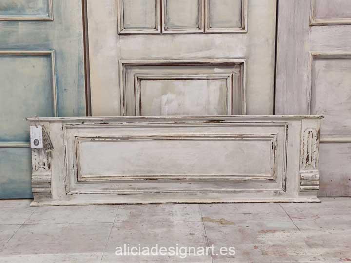 Copete walldecor rectangular antiguo decorado estilo Shabby Chic en tonos blancos - Taller de decoración de muebles antiguos Alicia Designart Madrid