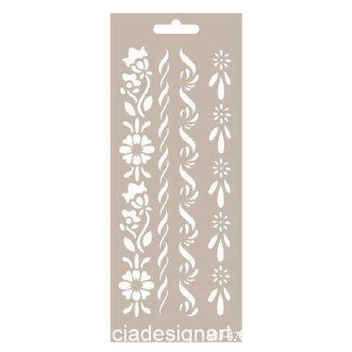Plantilla de stencil estarcido Mix Media con cenefas de flores de Cadence MU047 - Taller decoración de muebles antiguos Madrid estilo Shabby Chic, Provenzal, Romántico, Nórdico