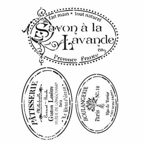 Plantilla de stencil estarcido XL Savon à la Lavande Cadence HD044 - Taller decoración de muebles antiguos Madrid estilo Shabby Chic, Provenzal, Romántico, Nórdico