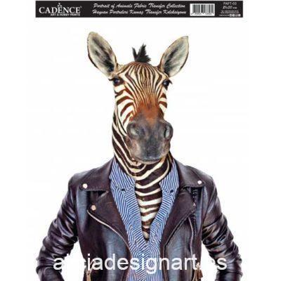 Papel para transfer sobre tejido con cebra, colección Animal Portrait de Cadence ref PAFT03 - Taller decoración de muebles antiguos Madrid estilo Shabby Chic, Provenzal, Romántico, Nórdico