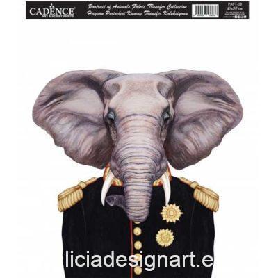 Papel para transfer sobre tejido con elefante, colección Animal Portrait de Cadence ref PAFT08 - Taller decoración de muebles antiguos Madrid estilo Shabby Chic, Provenzal, Romántico, Nórdico