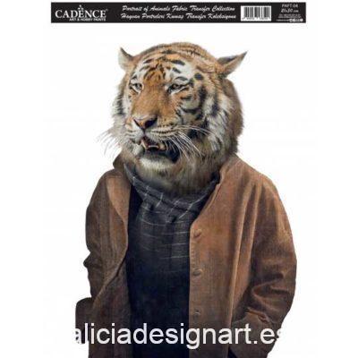 Papel para transfer sobre tejido con tigre, colección Animal Portrait de Cadence ref PAFT04 - Taller decoración de muebles antiguos Madrid estilo Shabby Chic, Provenzal, Romántico, Nórdico