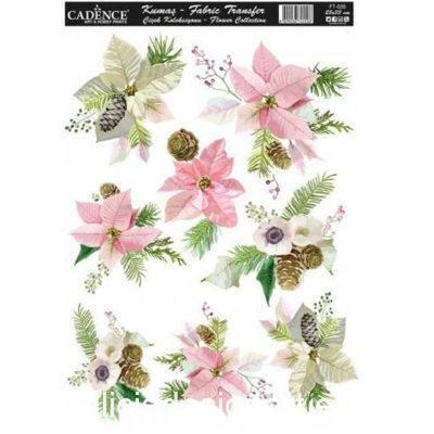 Papel para transfer sobre tejido Flowers de Cadence ref FT035 - Taller decoración de muebles antiguos Madrid estilo Shabby Chic, Provenzal, Romántico, Nórdico