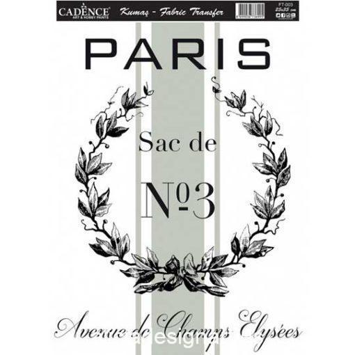 Papel para transfer sobre tejido Paris Nº3 de Cadence ref FT003 - Taller decoración de muebles antiguos Madrid estilo Shabby Chic, Provenzal, Romántico, Nórdico