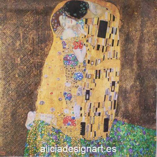 Servilleta para découpage con El Beso de Gustav Klimt - Taller decoración de muebles antiguos Madrid estilo Shabby Chic, Provenzal, Romántico, Nórdico