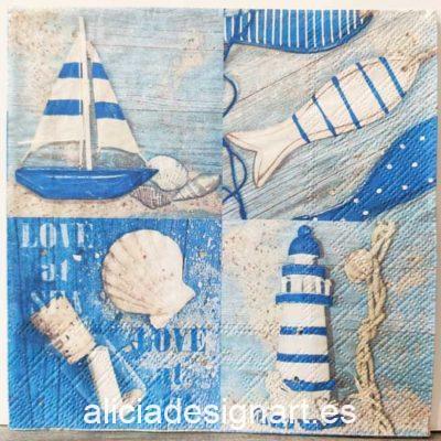 Servilleta para découpage de inspiración marinera - Taller decoración de muebles antiguos Madrid estilo Shabby Chic, Provenzal, Romántico, Nórdico