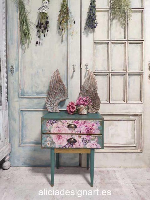 Mesilla de noche Colette Boho Chic con 2 cajones color turquesa oscuro y découpage floral - Taller de decoración de muebles antiguos Madrid estilo Shabby Chic, Provenzal, Romántico, Nórdico