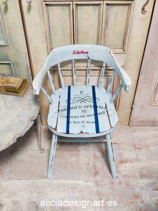 Silla butaca Windsor vintage Farmhouse azul con stencil - Taller decoración de muebles antiguos Madrid estilo Shabby Chic, Provenzal, Rómantico, Nórdico