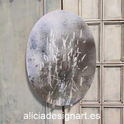Cuadro ovalado Semillas I, obra acrílica abstracta sobre lienzo con técnicas mix media - Taller decoración de muebles antiguos Madrid estilo Shabby Chic, Provenzal, Romántico, Nórdico