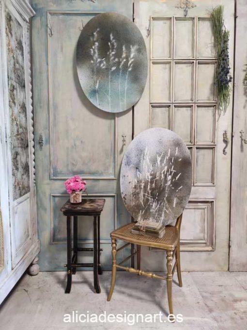 Pareja de cuadros ovalados Semillas I y II, obra acrílica abstracta sobre lienzo con técnicas mix media - Taller decoración de muebles antiguos Madrid estilo Shabby Chic, Provenzal, Romántico, Nórdico