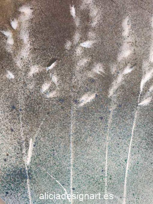 Cuadro ovalado Semillas II, obra acrílica abstracta sobre lienzo con técnicas mix media - Taller decoración de muebles antiguos Madrid estilo Shabby Chic, Provenzal, Rómantico, Nórdico
