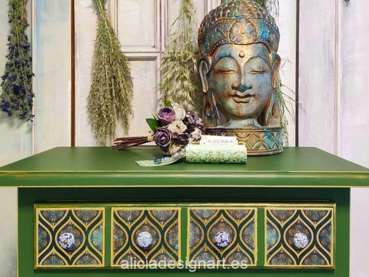 Sinfonier bohemio verde y dorado decorado por encargo